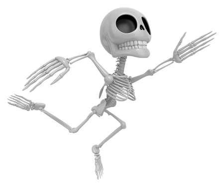 3D Skeleton Mascot Goes up like a cartoon hero. 3D Skull Character Design Series Stock Photo