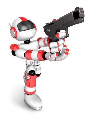 3D Red Robot fire an aimed shot a automatic pistol. Create 3D Humanoid Robot Series. Stok Fotoğraf - 83181035