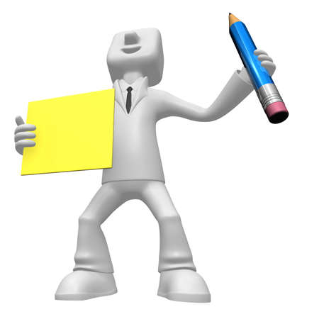 3D Business man mascot hand is holding a pencil and board. 3D Square Man Series. Stock Photo