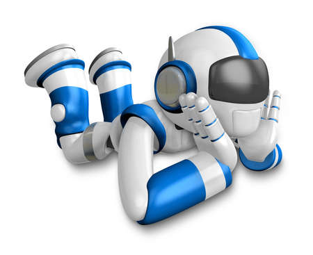 Blue Robot a happy fall prostrate. Create 3D Humanoid Robot Series. Stock Photo