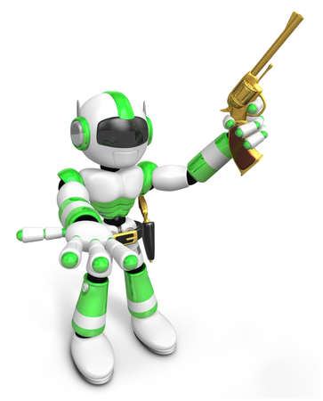 3D Green Robot cowboy the left hand guides and the right hand is holding a revolver. Create 3D Humanoid Robot Series.