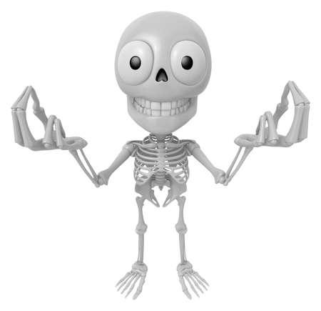 3D Skeleton Mascot the money gesture. 3D Skull Character Design Series.