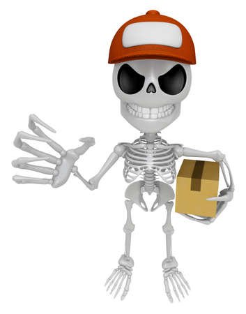3D Skeleton Mascot is having a fit of anger, holding delivery box. 3D Skull Character Design Series Stock Photo