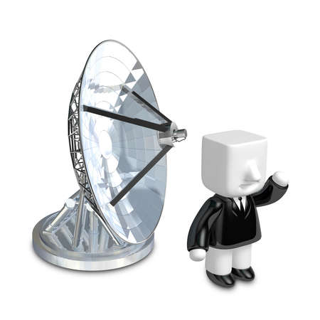 3d Businessman person with a parabolic dish. 3D Square Man Series.