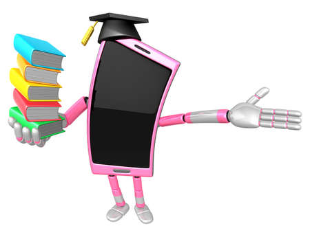 3D Smart Phone Mascot is holding a pile of books. 3D Mobile Phone Character Design Series.