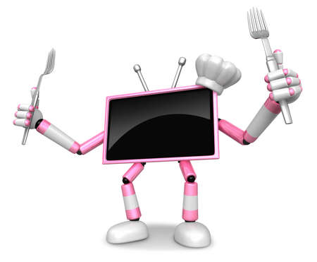 Chef Pink TV Character right hand, Fork in the left hand holding a Knife. Create 3D Television Robot Series.