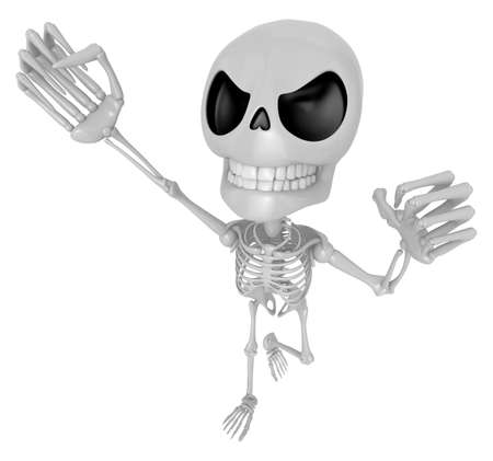 3D Skeleton Mascot is the strike with ones fist. 3D Skull Character Design Series.