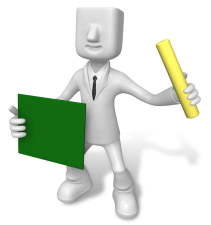 Business man holding a blackboard and chalk. 3D Business Character