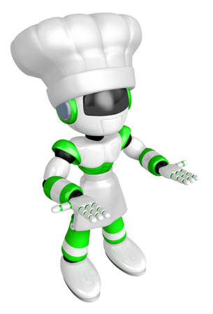Flexibility as possible a sets of Green robot Mascot. Create 3D Humanoid Robot Series. Stock Photo