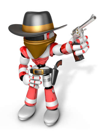 3D Red Robot villain is taking pose a gunfight. Create 3D Humanoid Robot Series.