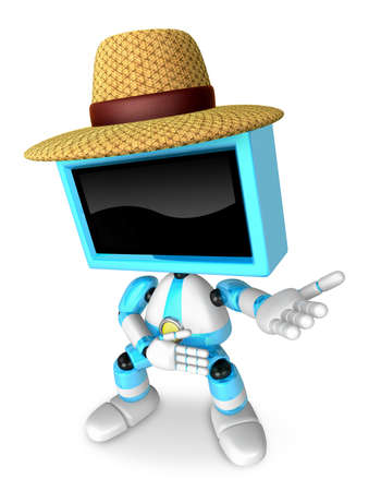 Sky Blue TV farmer character are kindly guidance. Create 3D Television Robot Series.