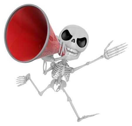 3D Skeleton Mascot the hand is holding a loudspeaker. 3D Skull Character Design Series.