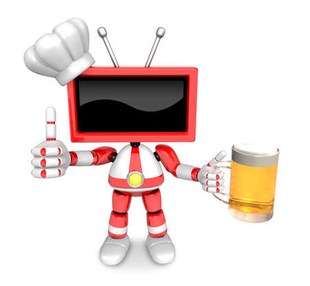 Red TV chef Mascot the left hand best gesture and right hand is holding a beer mug. Create 3D Television Robot Series. Stock Photo