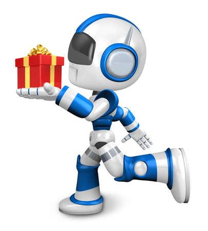 cowardice: Blue robot holding a big gift running. Create 3D Humanoid Robot Series.