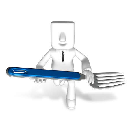 one 3d business man running with holding fork Banco de Imagens
