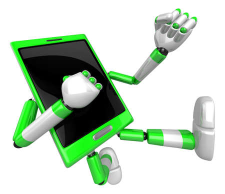 cellularphone: 3D Smart Phone Mascot to be powerful whip kicks. 3D Mobile Phone Character Design Series.