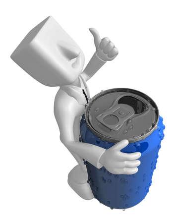 3d 사업가 음료 수 있습니다. 3D 평방 남자 시리즈입니다. 스톡 콘텐츠 - 83180528