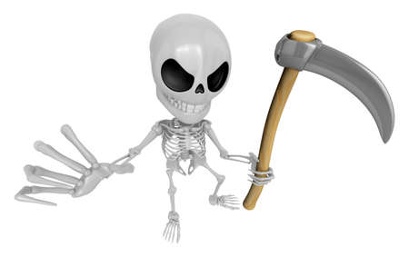 sickle: 3D Reaper Skeleton Mascot a very sharp scythe brandishing. 3D Skull Character Design Series.