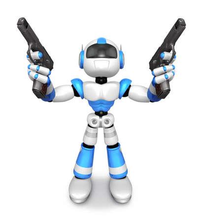 3 D 青いロボット マスコット自動を保持は、両手でピストルします。3 D ロボット シリーズを作成します。 写真素材 - 83180439