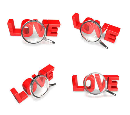 3D LOVE and magnifying glass icon. 3D Icon Design Series. Stock Photo
