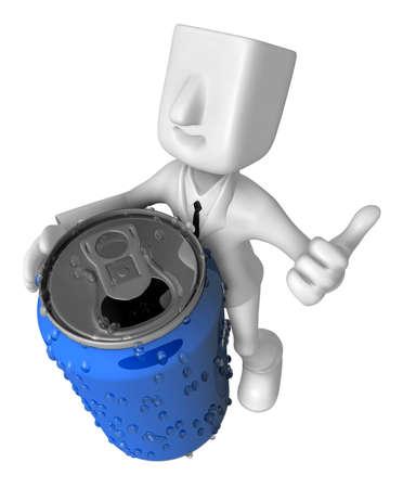 3d 사업가 음료 수 있습니다. 3D 평방 남자 시리즈입니다.