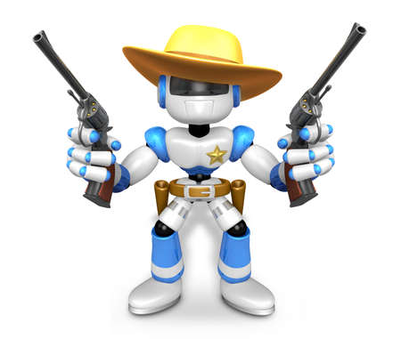 The 3D Blue Robot sheriff holding a revolver gun with both hands. Create 3D Humanoid Robot Series.