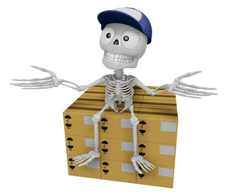 siting: 3D Skeleton Mascot is siting on top of the delivery boxes. 3D Skull Character Design Series.