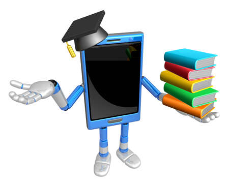 doctorate: 3D Smart Phone Mascot is holding a pile of books. 3D Mobile Phone Character Design Series.