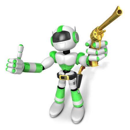 3D Green Robot cowboy the left hand best gesture and right hand is holding a revolver gun. Create 3D Humanoid Robot Series.