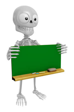 3D Skeleton Mascot holding a big board with both Green chalkboard. 3D Skull Character Design Series.