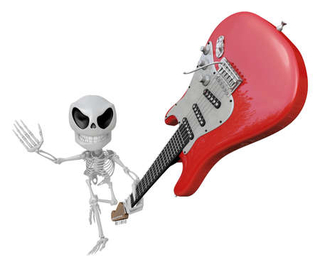 3D Skeleton Mascot is performance the Wielding a electric guitar. 3D Skull Character Design Series. Foto de archivo