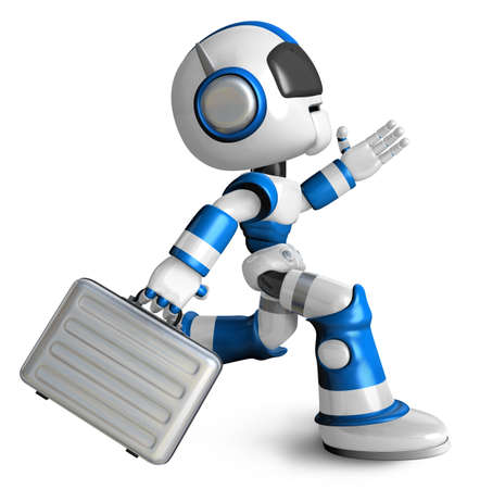 fidelity: Ran the Blue Robot holding a briefcase. 3D Robot Character Design Stock Photo