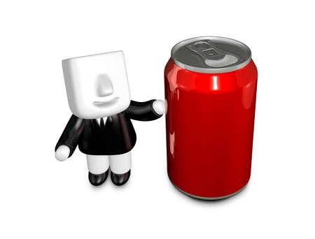 3d 사업가 음료 수 있습니다. 3D 평방 남자 시리즈입니다. 스톡 콘텐츠 - 83179784