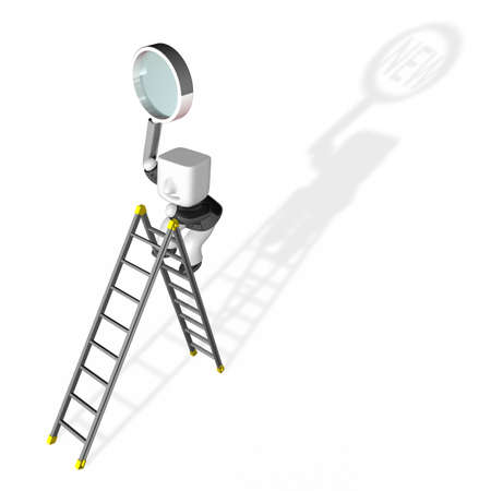 3d business man searching on the ladder