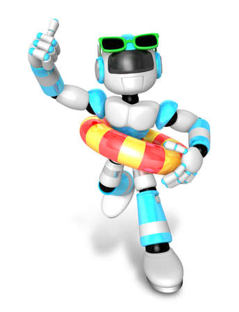 3d Sky Blue robot go on a waterside excursion. Create 3D Humanoid Robot Series.