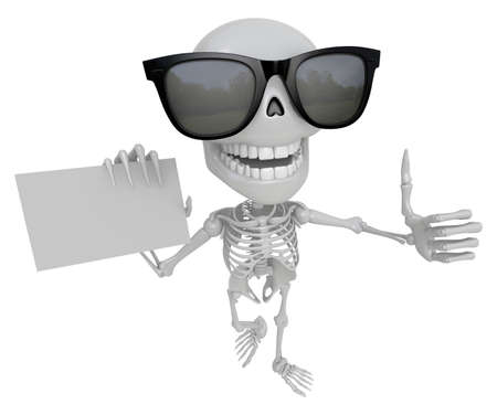 Wear sunglasses 3D Skeleton Mascot the left hand best gesture and right hand is holding a business cards. 3D Skull Character Design Series.