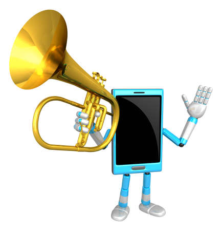 rim: 3D Smart Phone Mascot has to be playing the flugelhorn. 3D Mobile Phone Character Design Series.