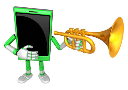 cellularphone: 3D Smart Phone Mascot has to be playing the Trumpet. 3D Mobile Phone Character Design Series.