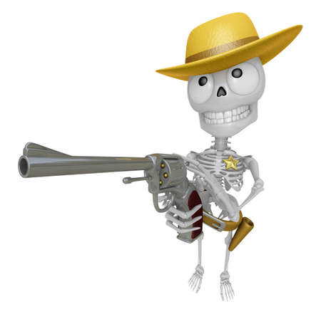 3D Skeleton Mascot cowboys is holding a revolver gun pose. 3D Skull Character Design Series. Stock Photo