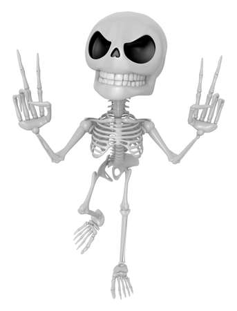 3D Skeleton Mascot is taking a gesture of victory. 3D Skull Character Design Series.