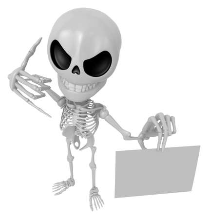 3D Skeleton Mascot the left hand call gesture and right hand is holding a business cards. 3D Skull Character Design Series.