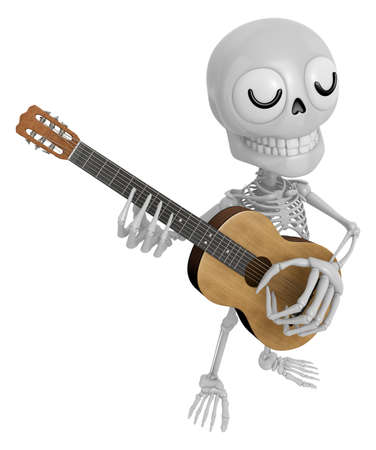 3D Skeleton Mascot has to be playing the guitar. 3D Skull Character Design Series.
