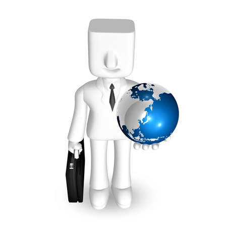 one 3d business man standing to hold a globe and briefcase