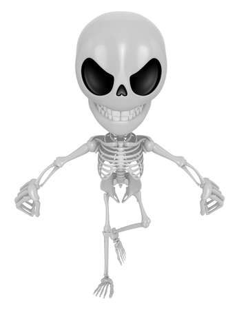3D Skeleton Mascot is Get angry fist tight. 3D Skull Character Design Series Stock Photo