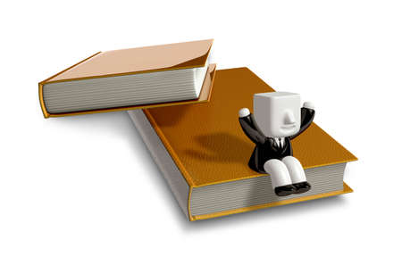 3D Businessman with open the books. 3D Square Man Series.