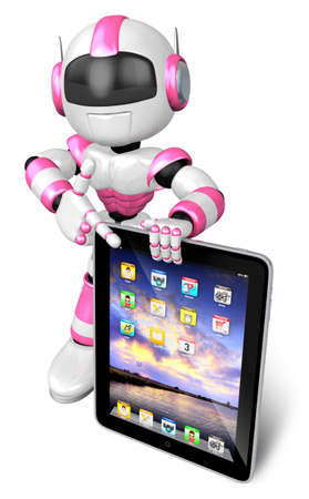 Pink robot Character fingers pointing to the tablet. Create 3D Humanoid Robot Series. Stock Photo
