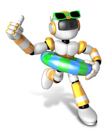 3d Yellow robot go on a waterside excursion. Create 3D Humanoid Robot Series.