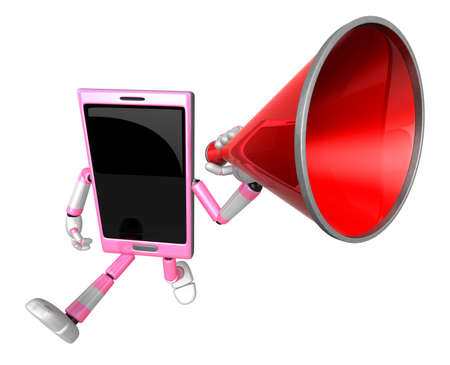 cellularphone: 3D Smart Phone Mascot the hand is holding a loudspeaker. 3D Mobile Phone Character Design Series. Stock Photo