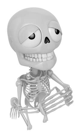 mortal: 3D Skeleton Mascot offered up prayers to God the Father. 3D Skull Character Design Series.