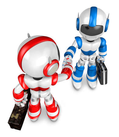 to compromise: Shake hands Blue robot and Red robot facing each other. Create 3D Humanoid Robot Series. Stock Photo